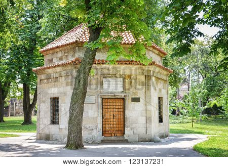 BELGRADE, SERBIA, JULY 6, 2014: Exterior shot of Tomb Of Damad Ali Pasha, an Ottoman general and Grand Vizier, inside Belgrade Fortress.