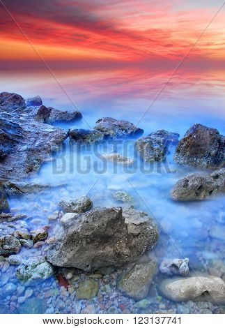 Seascape during sundown. Beautiful natural summer seascape ** Note: Visible grain at 100%, best at smaller sizes