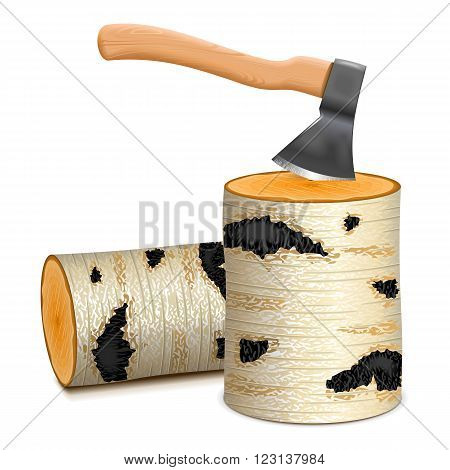 Vector Ax with Birch Firewood isolated on white background