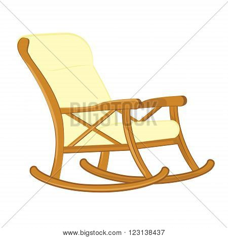 Vector illustration wooden rocking chair with soft seat. Rocking chair icon