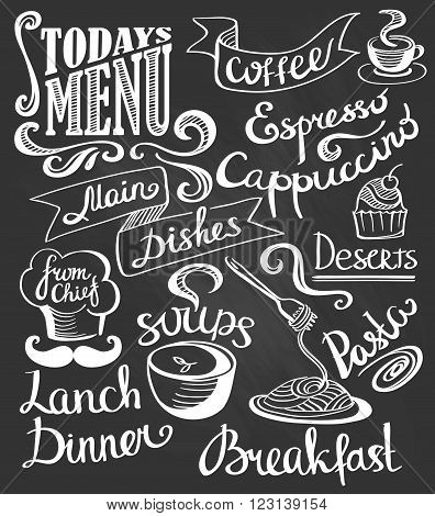 hand-drawn lettering. Cake pasta soup coffee. Cute signs.