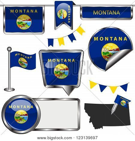 Glossy Icons With Flag Of State Montana