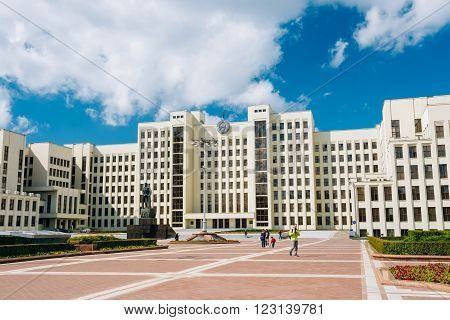 White Government Parliament Building - National Assembly of Belarus on Independence Square in Minsk, Belarus
