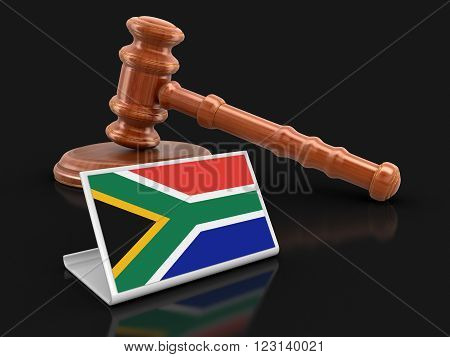 3d wooden mallet and flag of South African republic. Image with clipping path