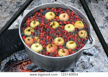 Compote In A Pot On The Fire