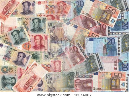 Chinese and euros currency background illustration