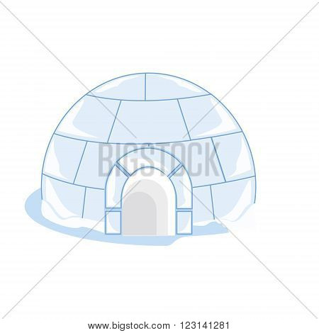 Vector illustration snow or ice house igloo. House made from ice blocks