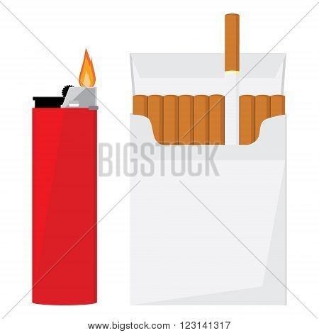 Opened cigarette pack with cigarettes and red pocket lighter with fire vector illustration. Cigarette box. Cigarette packet.