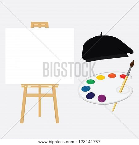 Painting lessons or school concept. Easel and painter in painter hat holding paint palette.