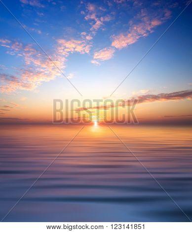 Seascape during sundown. Beautiful natural summer seascape