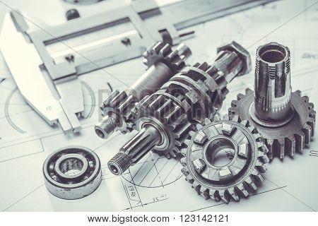 steel metal gears on the engineering drawings