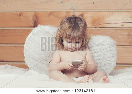 Angel Boy With Phone