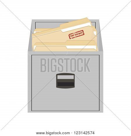 Vector illustration opened card catalog with file folders. Office furniture. Metal filing cabinet. Top secret