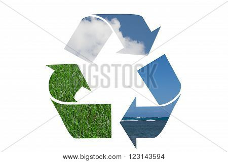 Recycle Symbol with water sky and grass isolated over white