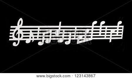 Black background with pentagram and  musical notes