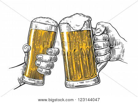Two hands holding and clinking with two beer glasses mug. Vintage vector engraving illustration for web, poster, invitation to beer party. Isolated on white background.