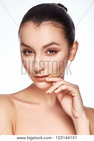 Portrait Of Beautiful Young Girl With Clean Face.