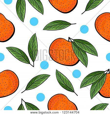 Seamless Hand Drawn Tangerine Pattern