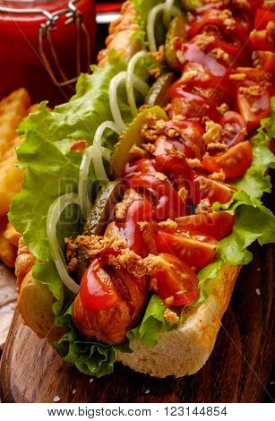 Homemade Hot Dogs With Onions, Cherry And Pickles.
