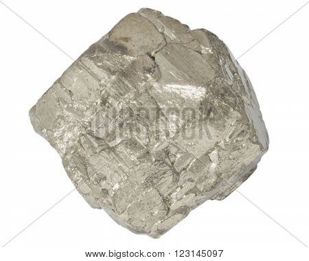 Pyrite mineral crystall macro isolated on white background