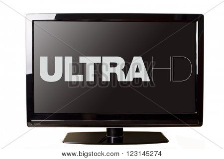 Modern LCD TV isolated on white with Ultra HD text on