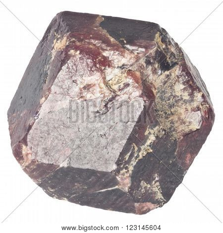 Rough garnet crystall macro isolated on white