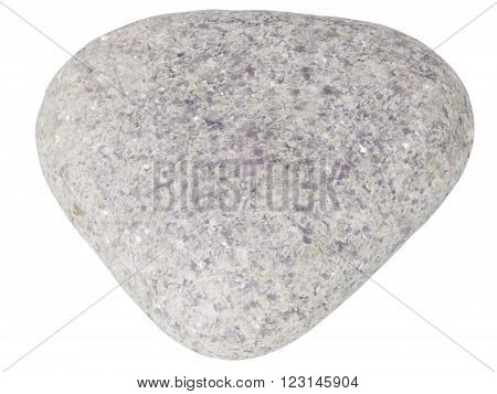 Small lepidolite pebble macro isolated on white