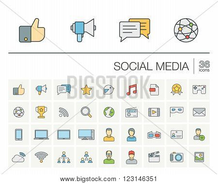 Vector thin line icons set and graphic design elements. Illustration with social media and digital technology outline symbols. Like, speech bubble, avatar, computer, web, mobile linear pictogram