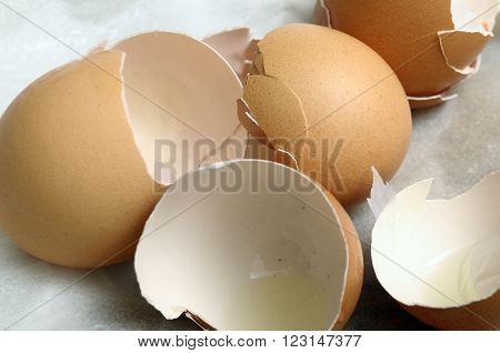 Close up of lot of Broken egg shells for cooking
