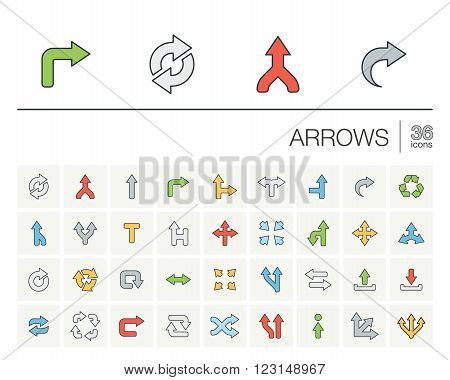 Vector thin line color icons set and graphic design elements. Illustration with arrows, direction and move outline flat symbols. Turn left, right, switch, undo linear pictogram