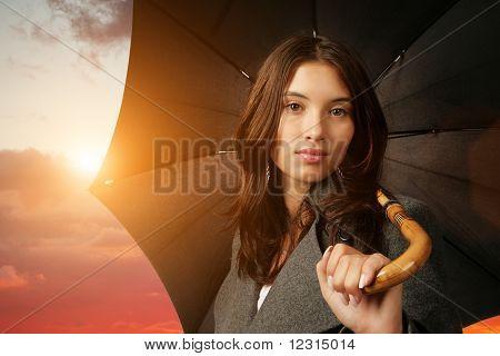 Female under umbrella