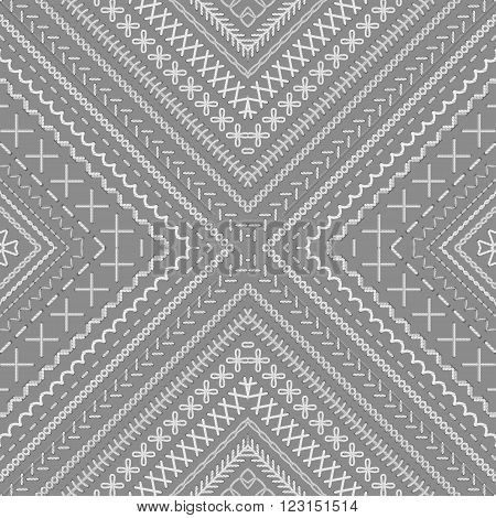 Seamless Grey And White Ethnic Pattern.