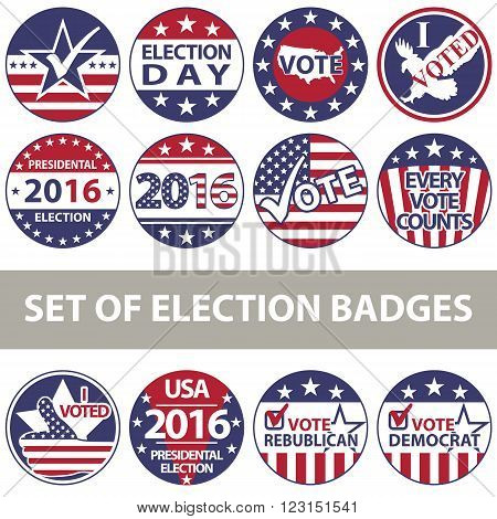 Vector set of voting badges for elections with United States flag