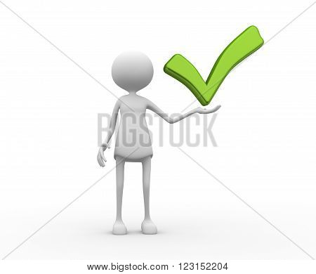 3d women - female with a green check mark