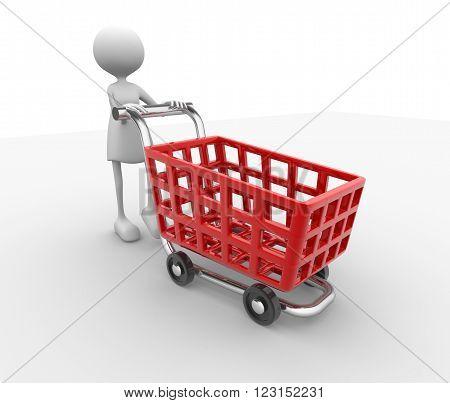 3d render women and big shopping car