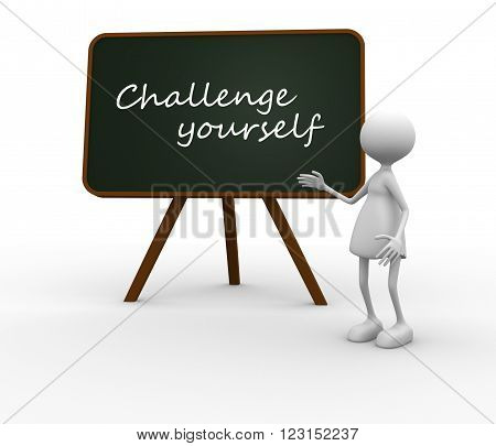 3d women with a blackboard. Challenge yourself