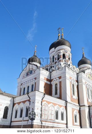 View of Alexander Nevsky Cathedral in Tallinn Estonia.
