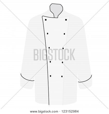 Vector illustration white chef uniform jacket for men. Chef jacket with long sleeves for cooking