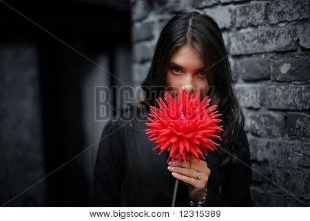 Emo Girl With Red Flower