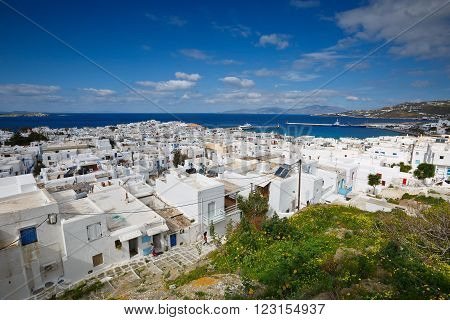 MYKONOS, GREECE - MARCH 06, 2016: View of Mykonos town in Cyclades, Greece ON March 06, 2016.