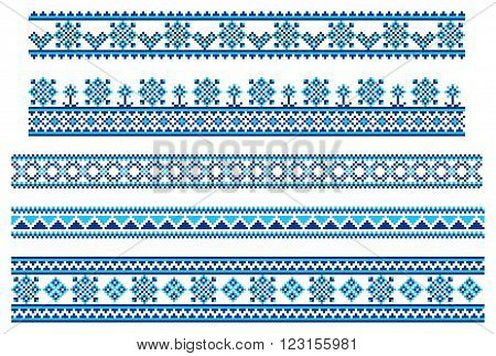 Vector set of blue embroidering pattern lines