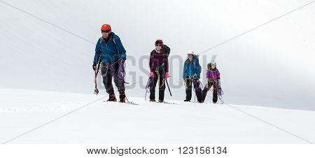 Four People Staying on Mountain High Altitude Snowfield Sporty Clothing and Safety Climbing Gear Mature Male Guide and Young Female Athletes