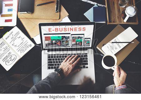 E-business E-commerce Connecting Technology Concept