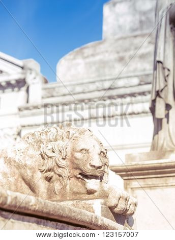 Lion statue symbol at recoleta cemetery in buenos aires