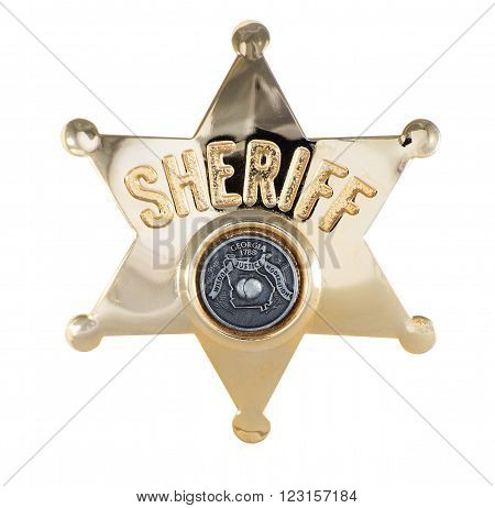 gold Sheriff badge with 6 points isolated on white