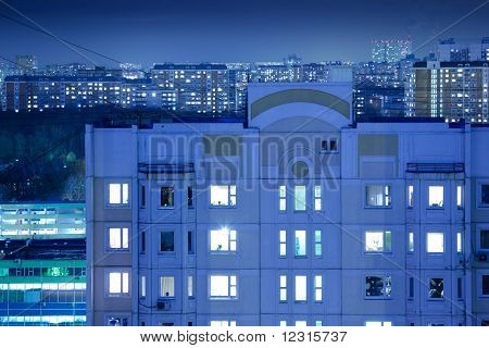 Night Buildings Background
