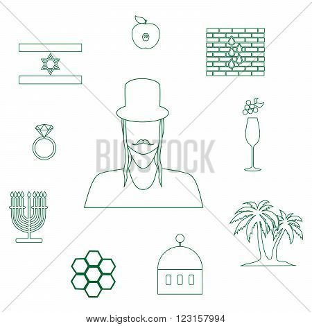 set of icons in the style of a flat design on the theme of israel.