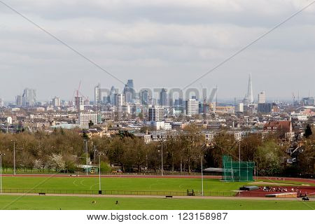 The City of London Cityscape from Hampstead Heath. Buildings include the Shard Gherkin 30 St Mary Axe St Pauls Lloyds Building Stock Exchange and Walkie Talkie.