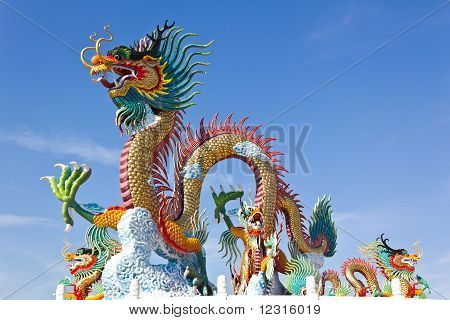 Colorful Of Dragon Statue With Blue Sky