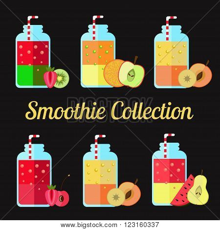 Fresh friut smoothie, vegetarian food vector collection. Different tastes